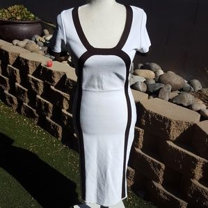 Herve Leger white with brown stripe dress